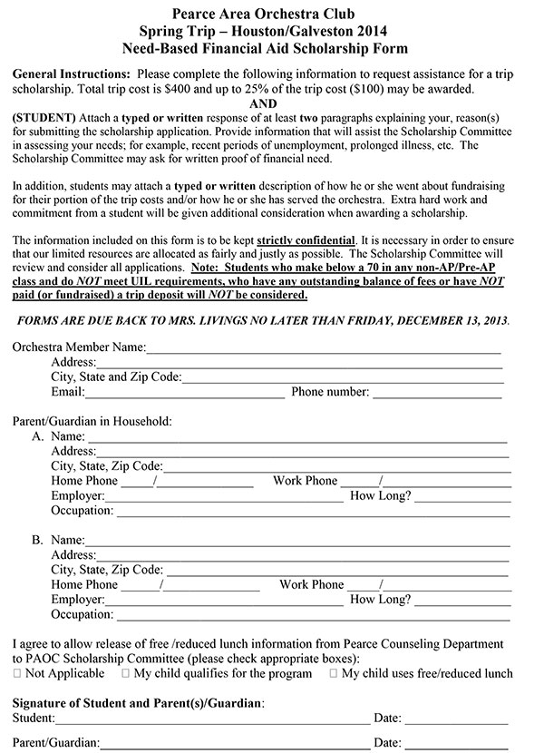 Trip Scholarship Application Form  Jj Pearce Hs Orchestras
